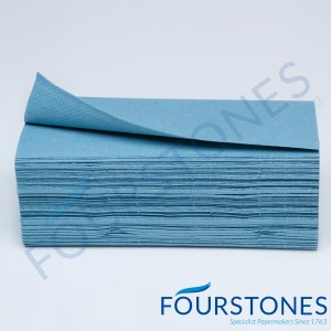 SINGLE FOLD BLUE HAND TOWELS