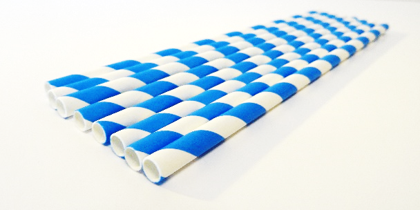 Paper Straws Blue & White